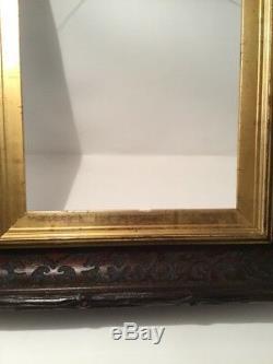 ANTIQUE HAND CARVED WALNUT FRAME ADIRONDACK 10x12 & 17x19 GOLD GILT BEAUTY RARE