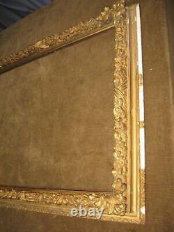 ANTIQUE HUGE LEMON GILT GOLD CARVED WOOD PICTURE FRAME 28.5 x 22.5 fit c1850s