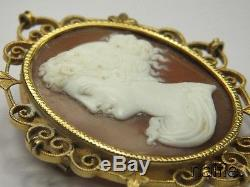 ANTIQUE LATE VICTORIAN 15K GOLD FINELY CARVED SHELL GODDESS CAMEO BROOCH c1890