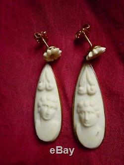 ANTIQUE RARE Victorian carved Italy LAVA 18 Kt GOLD dangling drop CAMEO EARRINGS