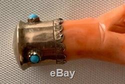 ANTIQUE VICTORIAN 10k GOLD REAL Carved Coral Turquoise Mano Figa Hand