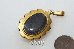ANTIQUE VICTORIAN 15K GOLD CARVED CORAL WARRIOR CAMEO LOCKET PENDANT c1870