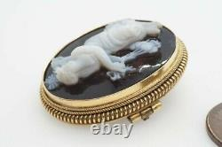 ANTIQUE VICTORIAN 15K GOLD CARVED HARDSTONE 3rd HOUR of DAY CAMEO BROOCH c1870