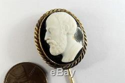 ANTIQUE VICTORIAN 15K GOLD CARVED HARDSTONE CAMEO STICKPIN c1880