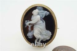ANTIQUE VICTORIAN 15K GOLD CARVED HARDSTONE EOS / AURORA CAMEO BROOCH c1870