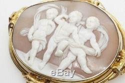 ANTIQUE VICTORIAN 15K GOLD FINELY CARVED SHELL PUTTI / CHERUB CAMEO BROOCH c1860