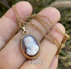 ANTIQUE VICTORIAN CARVED CARNELIAN CAMEO 14K GOLD PENDANT CHAIN NECKLACE 5gr