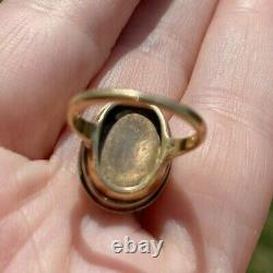 ANTIQUE VICTORIAN CARVED CARNELIAN CAMEO 14K GOLD RING 17x13mm 4.3gr