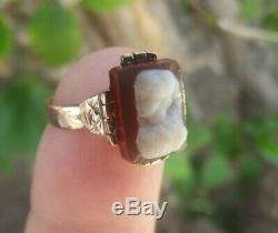 ANTIQUE VICTORIAN CARVED CARNELIAN CAMEO 14k GOLD HANDMADE RING SIZE 7