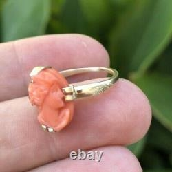 ANTIQUE VICTORIAN CARVED CORAL CAMEO 14K GOLD RING 15x10mm 3.36gr