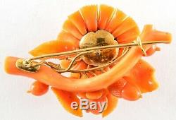 ANTIQUE VICTORIAN CARVED CORAL EARRINGS BROOCH SET 18K GOLD w ORIGINAL BOX