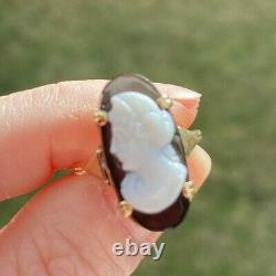 ANTIQUE VICTORIAN CARVED ONYX CAMEO 14K GOLD RING size 6 20x 10 mm