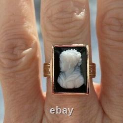 ANTIQUE VICTORIAN CARVED ONYX CAMEO 14K GOLD RING size 7 18x13mm 5.2gr