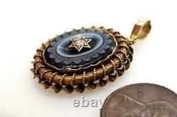 ANTIQUE VICTORIAN ENGLISH 15K GOLD CARVED ONYX & DIAMOND STAR LOCKET c1880