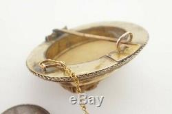 ANTIQUE VICTORIAN ETRUSCAN REVIVAL 15K GOLD CARVED LAVA CAMEO BROOCH c1870