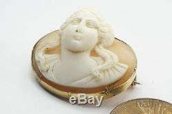 ANTIQUE VICTORIAN PERIOD 9K GOLD CARVED SHELL GODDESS CAMEO BROOCH c1820