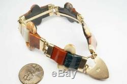 ANTIQUE VICTORIAN SCOTTISH 9K GOLD CARVED AGATE BRACELET & HEART PADLOCK c1890
