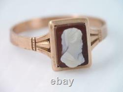 ANTIQUE VICTORIAN SOLID 10K ROSE GOLD CARVED HARD STONE CAMEO RING sz 5 1/2