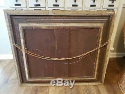 ANTIQUE VINTAGE CARVED GOLD ORNATE GESSO FRAME 38 x 32 LARGE FREE SHIP
