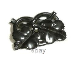 ANTIQUE Victorian Large Whitby Jet Carved 3D Entwined Leafs BROOCH Stunning