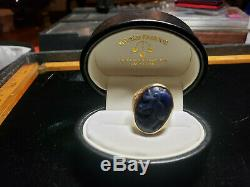 ANTIQUE c. 1890 1910 VICTORIAN CARVED DRAGON LAPIS IN 14K GOLD RING