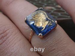 ANTIQUE deco 18k GOLD paste blue sapphire stone intaglio carved warrior's face