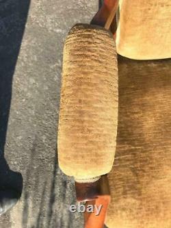 AN ANTIQUE VICTORIAN WALNUT & YELLOWithGOLD VELVET OPEN ARMCHAIR NURSING CHAIR