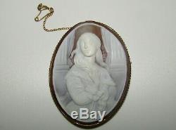A Large, Victorian, 9 Ct Gold Carved Shell Cameo Brooch, Madame Rimsky-korsakov