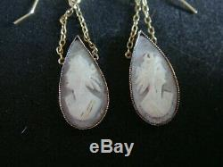 A Pair Of Antique Victorian Carved Shell Cameo Drop Earrings In Solid 9ct Gold
