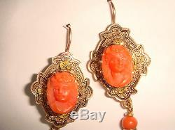 Ant. Victorian 2 14k Gold Enamel Red Coral Carved Cherub Cameo Drop Earrings