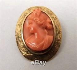 Antique 10K Gold Carved Red Coral Cameo Brooch Pin Pink Relief Woman Victorian