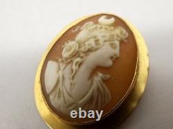 Antique 10K Gold Carved Shell Cameo Brooch Pendant Pin Relief Woman Victorian