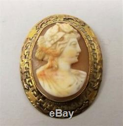 Antique 10K Gold Carved Shell Cameo Brooch Pin Relief Woman Victorian Greek Key