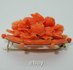 Antique 14KT Yellow Gold and Carved Coral Brooch Roses Cherub Ornate Victorian