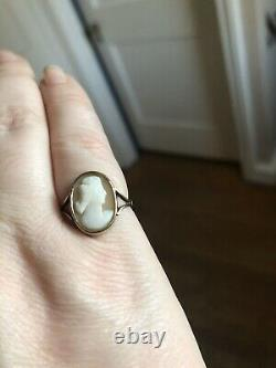 Antique 14k Gold Victorian Carved Hard Stone Cameo Grecian Lady Ring Sz 5.25