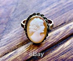 Antique 14k Gold Victorian Carved Shell Cameo Ladies Ring Size 5.5
