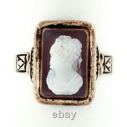 Antique 1878 Victorian 14k Rose Gold Carved Agate Hardstone Cameo Etched Ring