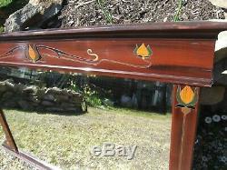 Antique 1890's Art Nouveau overmantle MIRROR carved colour & gold rosewood 114cm