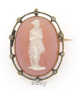 Antique 18K Gold Beautiful Carved Victorian Agate Cameo Brooch with Diamonds