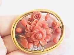 Antique 18ct Gold And Carved Coral Victorian Brooch