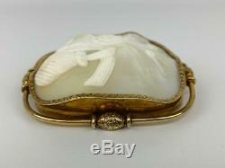 Antique 19thC Victorian 22K Gold Carved Shell Cameo Bouquet Pin Brooch Mourning