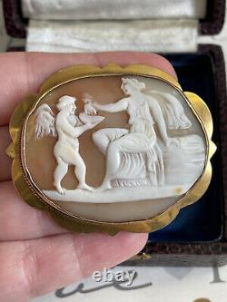 Antique 19th 9k Gold brooch Victorian carved shell cameo Aphrodite & Cupid Rare