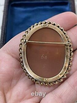 Antique 19th 9k Gold brooch Victorian carved shell cameo Neptune & wife Salacia