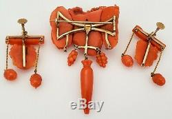 Antique 19th C Victorian Carved Coral 14k Gold Bacchus Figural Brooch & Earrings