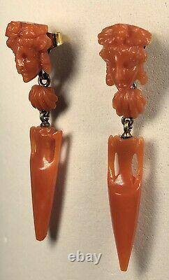 Antique 19th Century Victorian 14k Gold & Carved Coral Dangle Earrings
