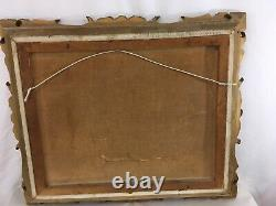 Antique 25 1/2 x 21 Carved Wood Gold Victorian Baroque Art Picture Frame