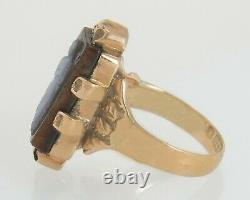 Antique 9K Yellow Gold Hand Carved Black Onyx Cameo Victorian Ring 1888 Size 4