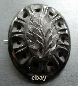 Antique BIG 2 Victorian WHITBY JET carved fern leaf brooch -N5