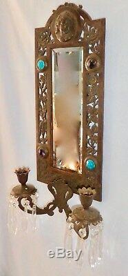 Antique BRASS Over CAST IRON 2-Candle Mirror Wall Sconce with Carved Child's Face
