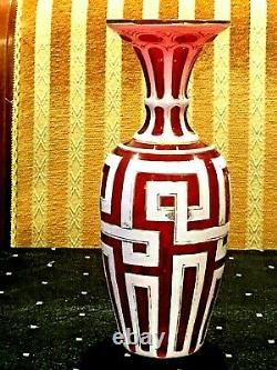 Antique Bohemian/czech Moser H/p Gold & Carved White To Cranberry Art Glass Vase